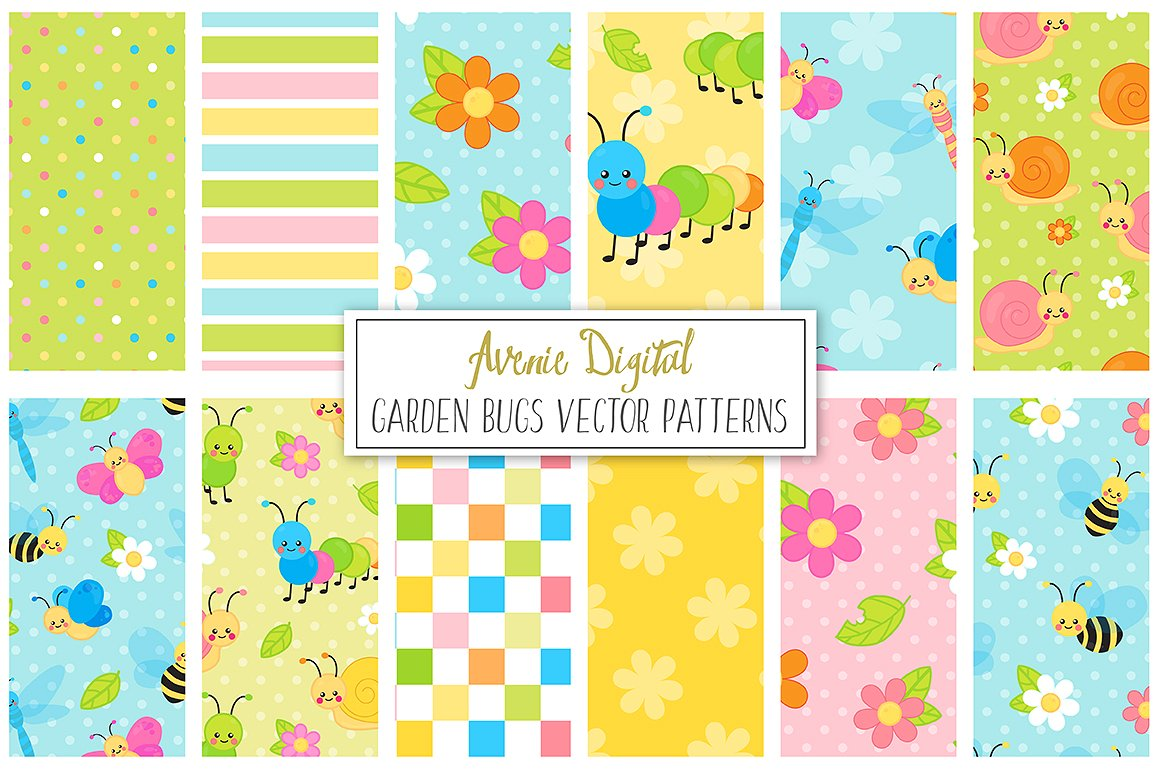 Spring Garden bugs Digital Paper and Vector Patterns example image 1