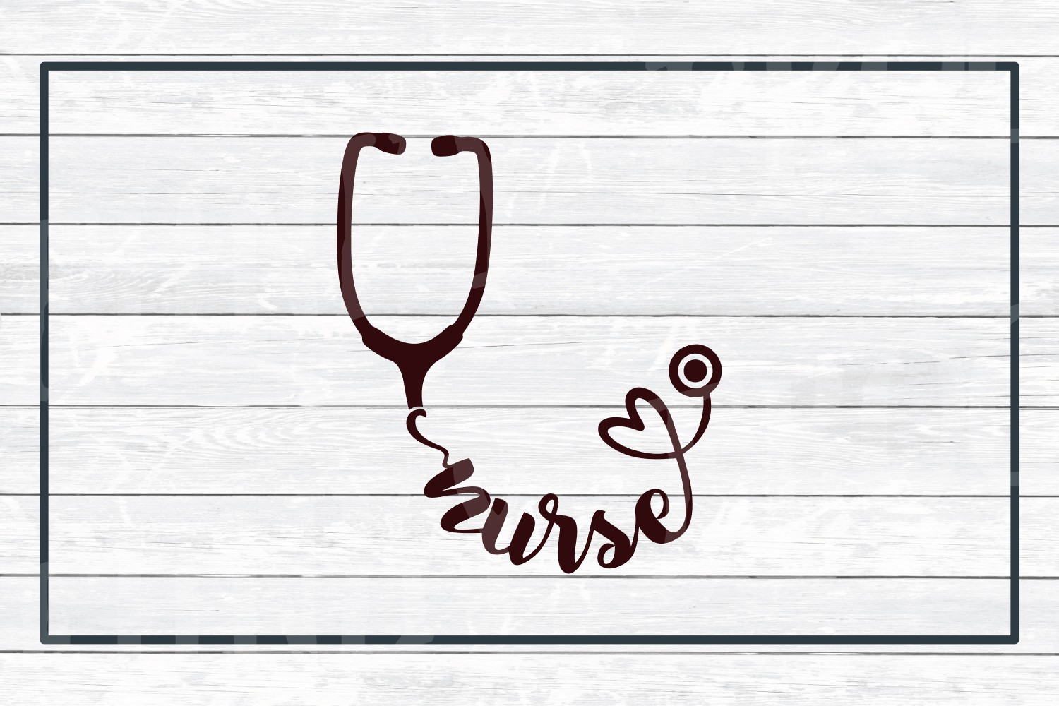 Nurse Stethoscope SVG Cut File for Crafters example image 3