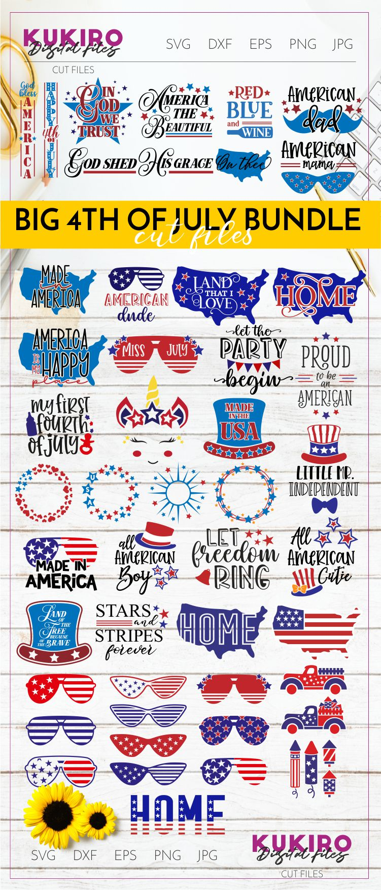 4th of July Bundle SVG - Big Patriotic Cut files Bundle example image 30