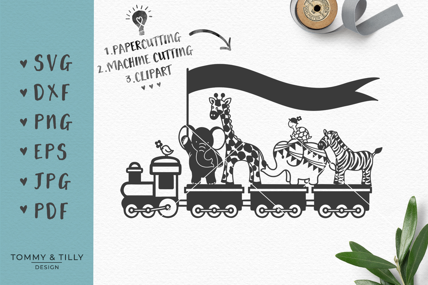 Animal Train - SVG DXF PNG EPS JPG PDF Cutting File example image 1