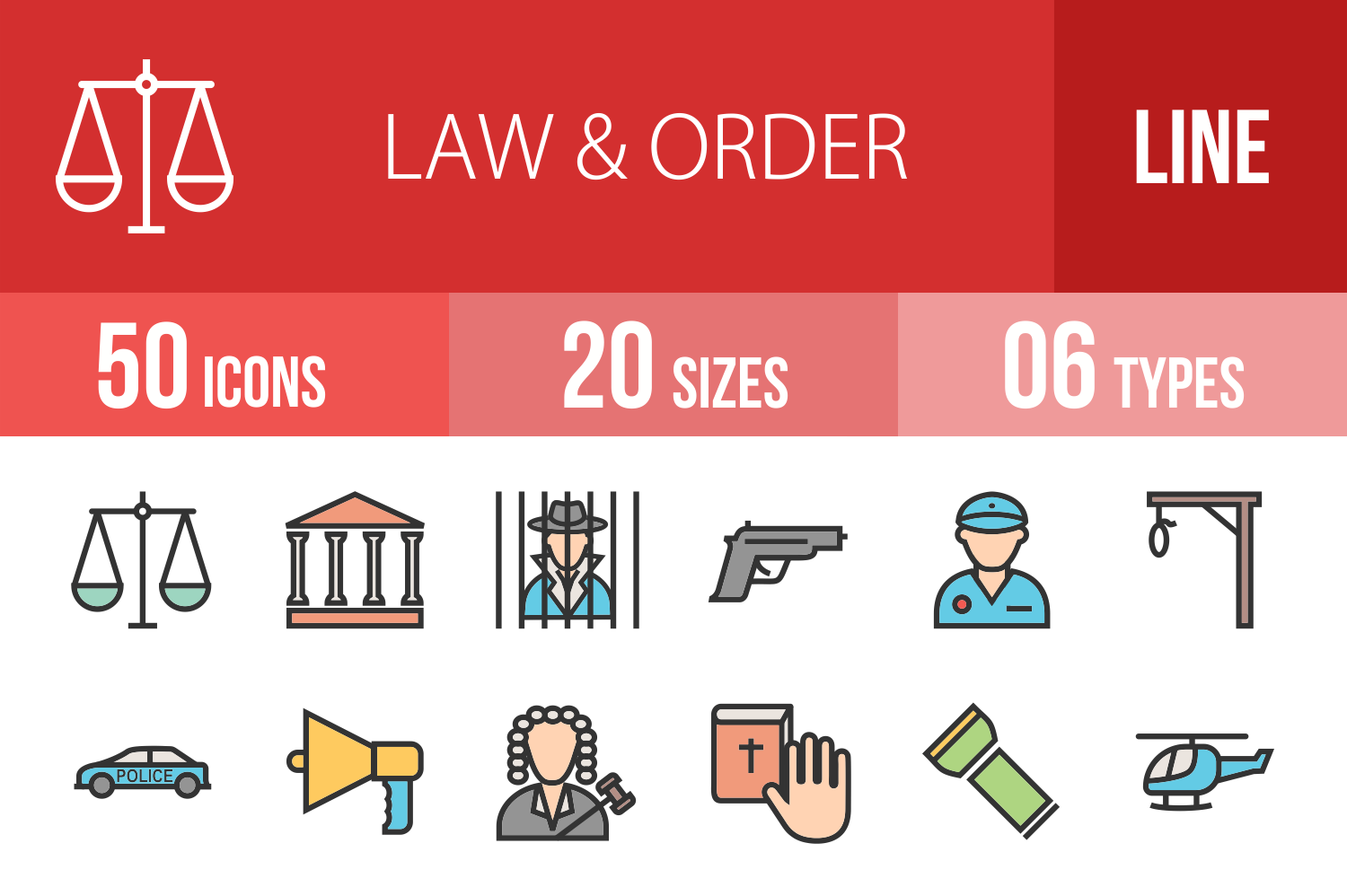 50 Law & Order Linear Multicolor Icons example image 1