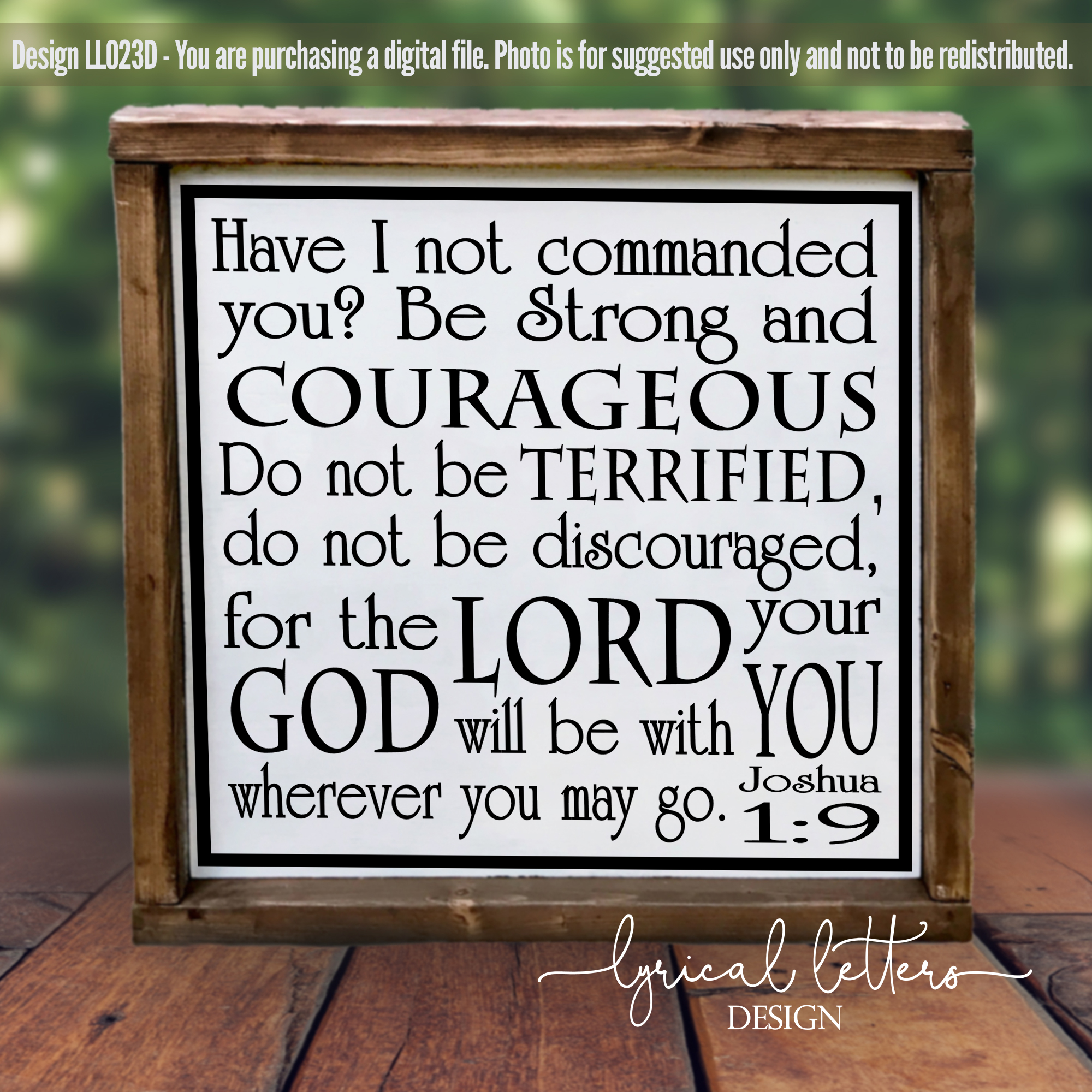 Be Strong and Courageous Joshua 1 SVG DXF LL023D example image 2