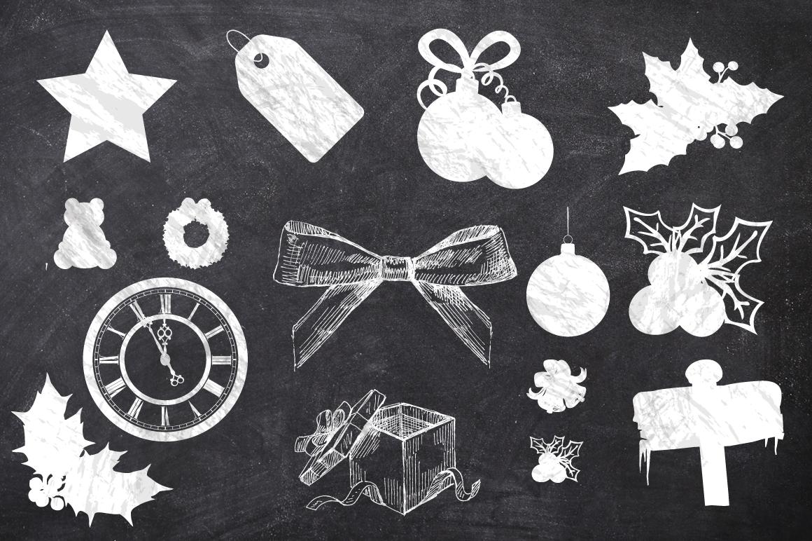 50 Chalk Christmas Elements example image 5