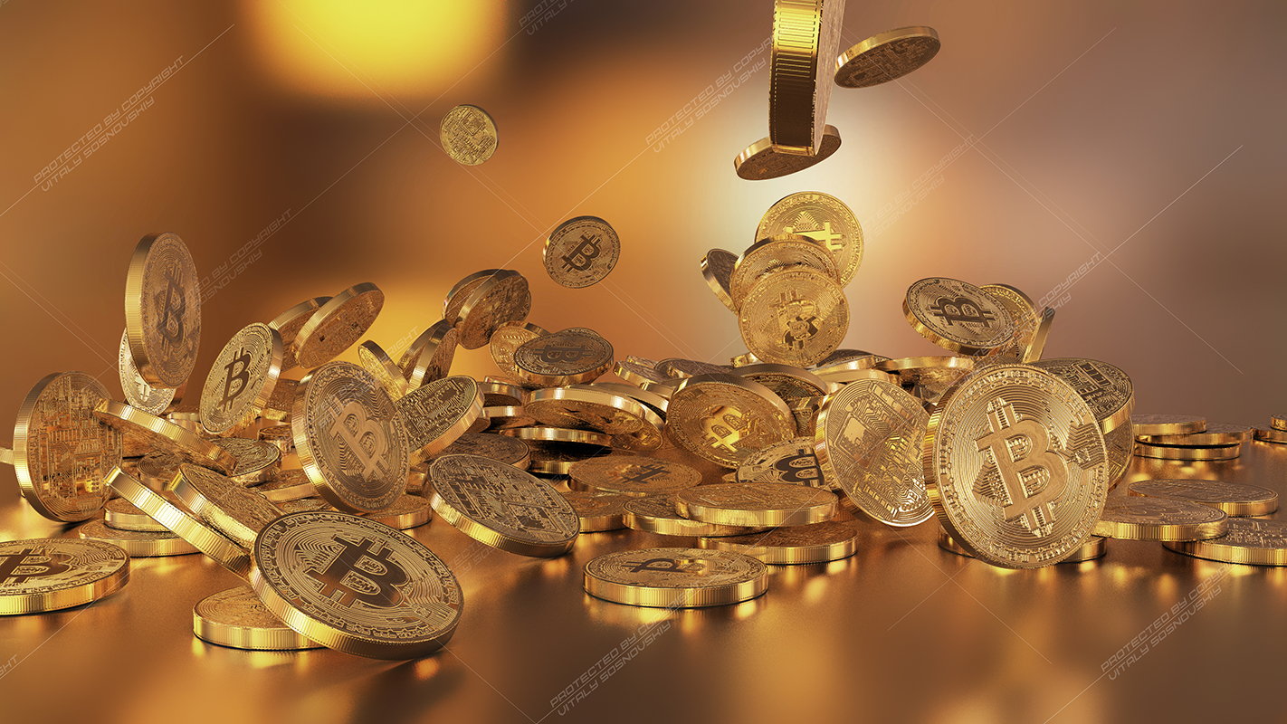 6  files - 3D rendering Bitcoins falling on a pile example image 4