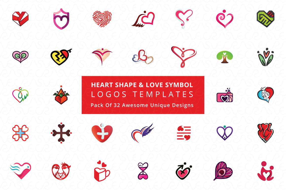Heart Shape & Love Symbol Logo Templates Pack of 32 example image 1