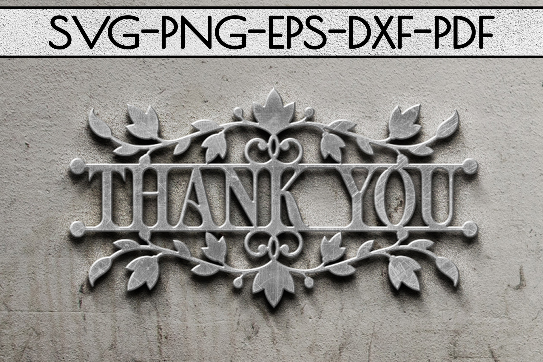 Thank You Papercut Templates Bundle, Laser Vector SVG, PDF example image 3