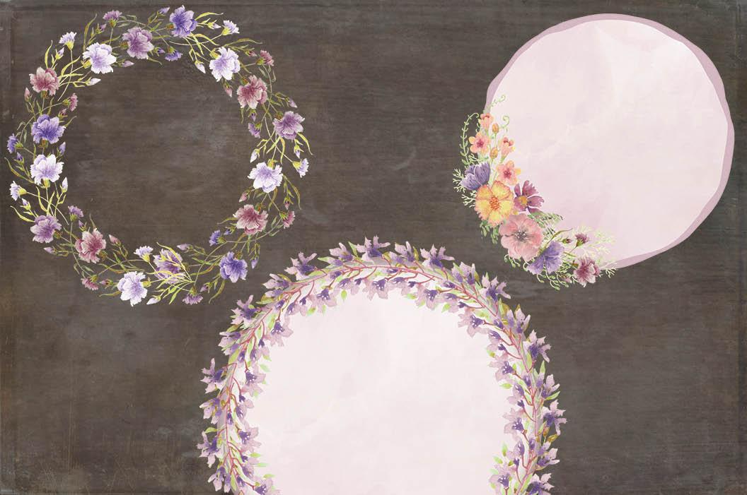 Watercolor clip art bundle: wild flowers example image 8