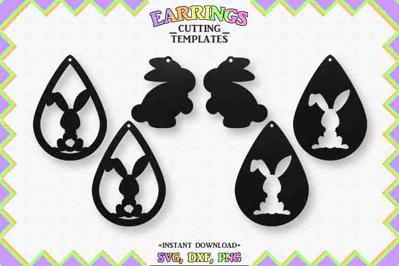 Easter Earrings, Silhouette, Cricut, Cut File, SVG DXF PNG example image 1