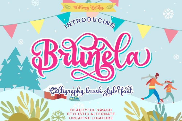 Brunela Beautyful Calligraphy brush scripts font example image 3