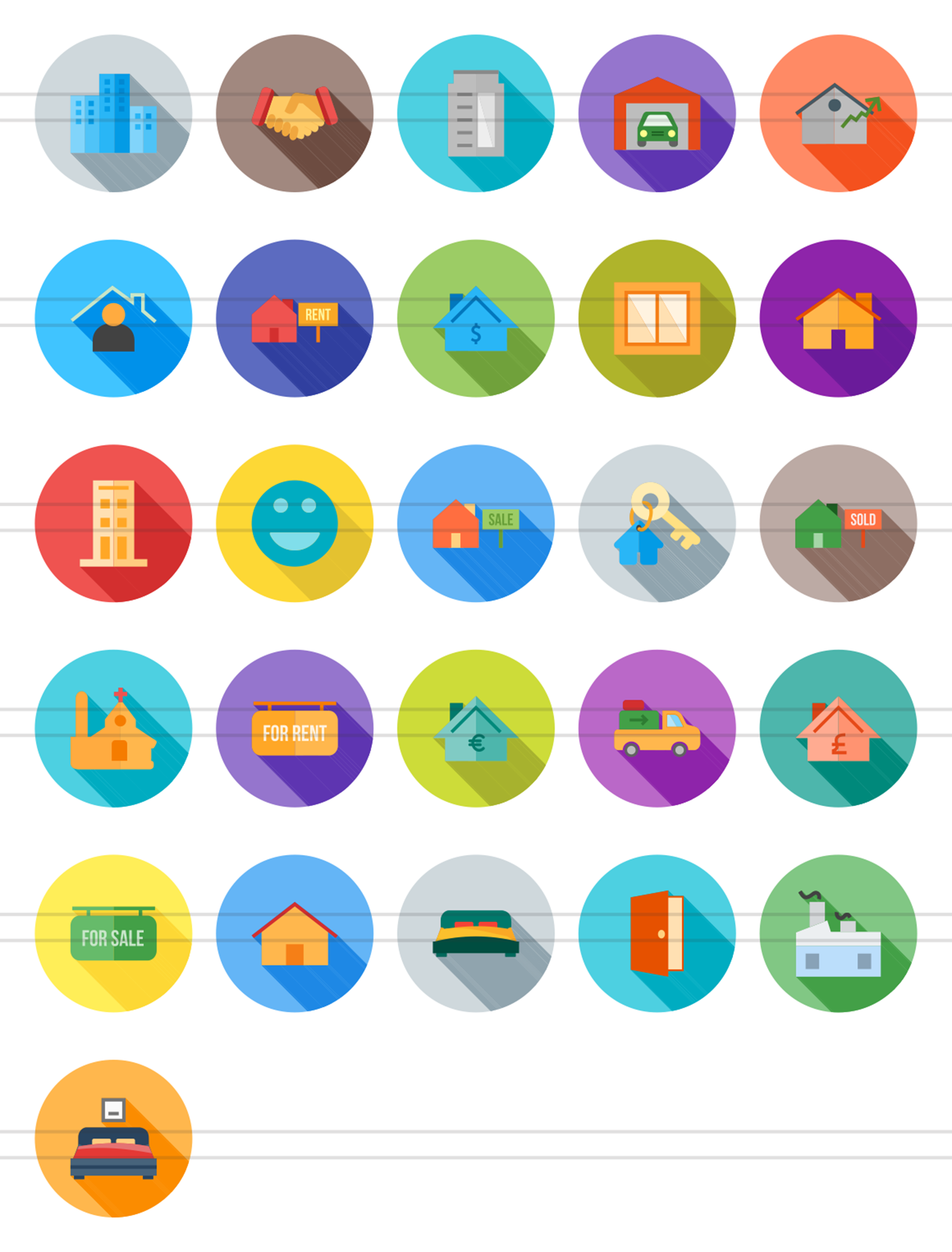 26 Real Estate Flat Long Shadow Icons example image 2