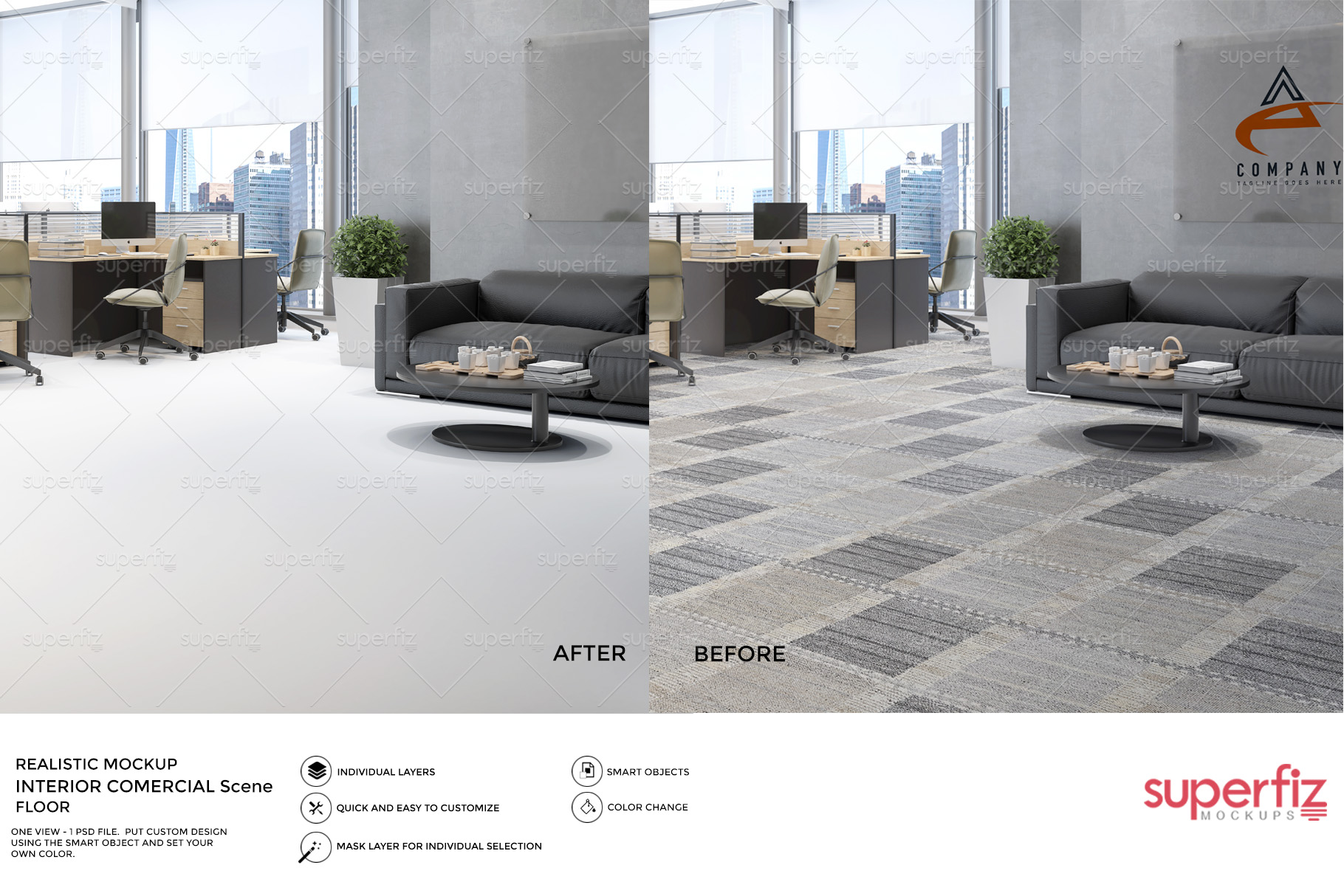 Blank Floor Commercial PSD Mockup SM76 example image 3