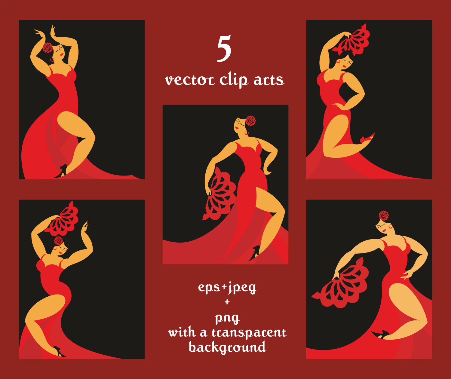 Flamenco. Vector clip arts and patterns. example image 2
