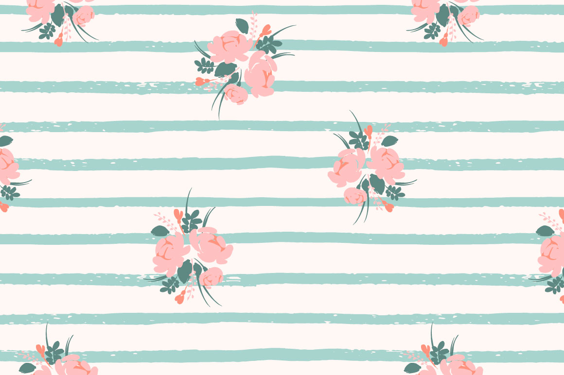 Cute flowers. 10 seamless patterns. example image 7