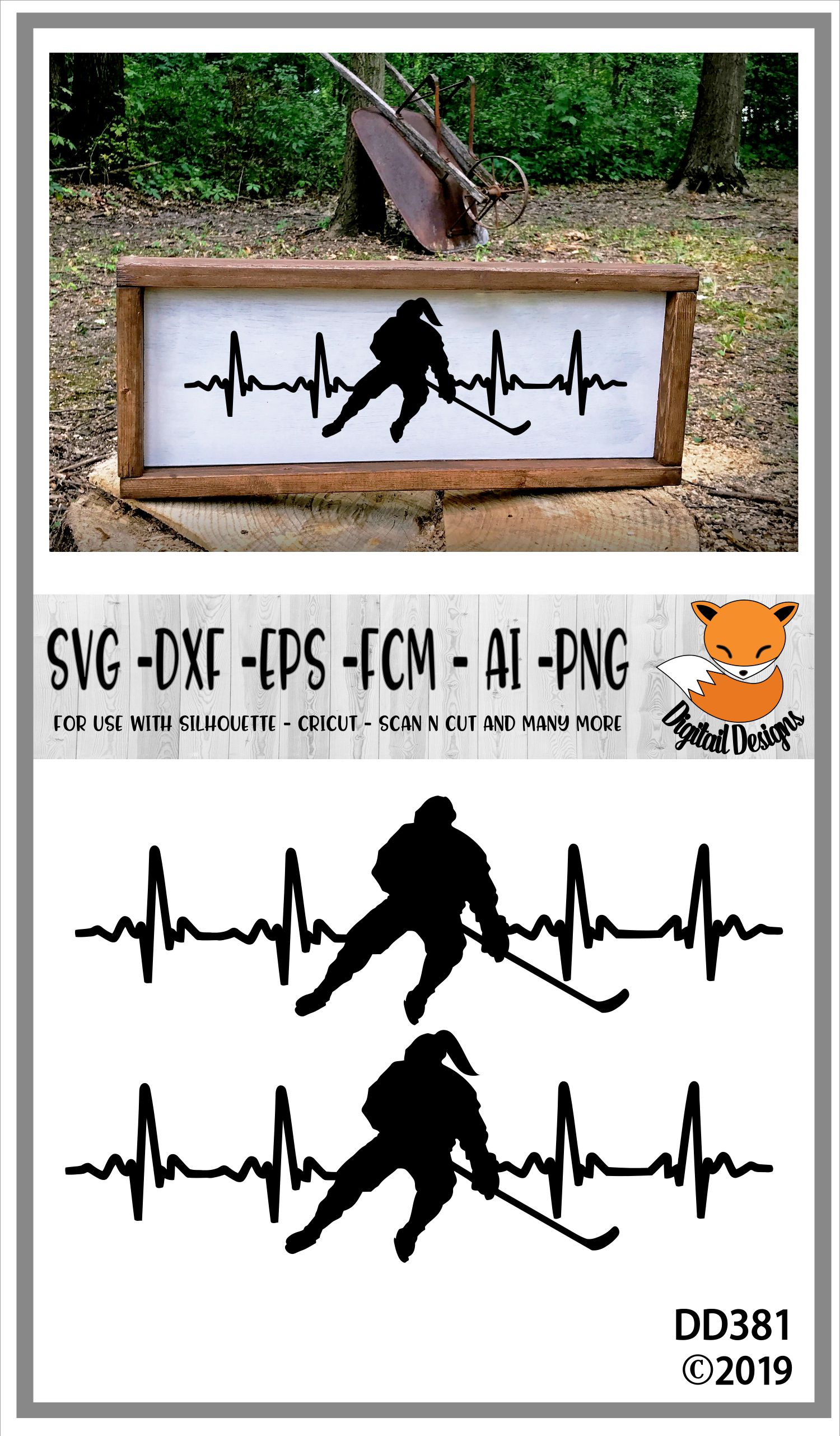 Love Hockey EKG Heartbeat SVG example image 2