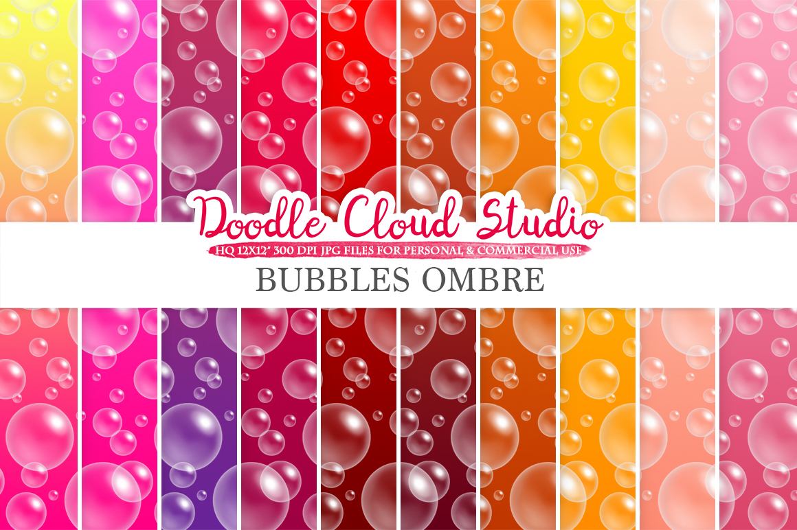 10 Ombre Soap Bubbles digital paper, Warm colors, Bubbles pattern, Pink Gradient backgrounds, Instant Download, Personal & Commercial Use example image 1