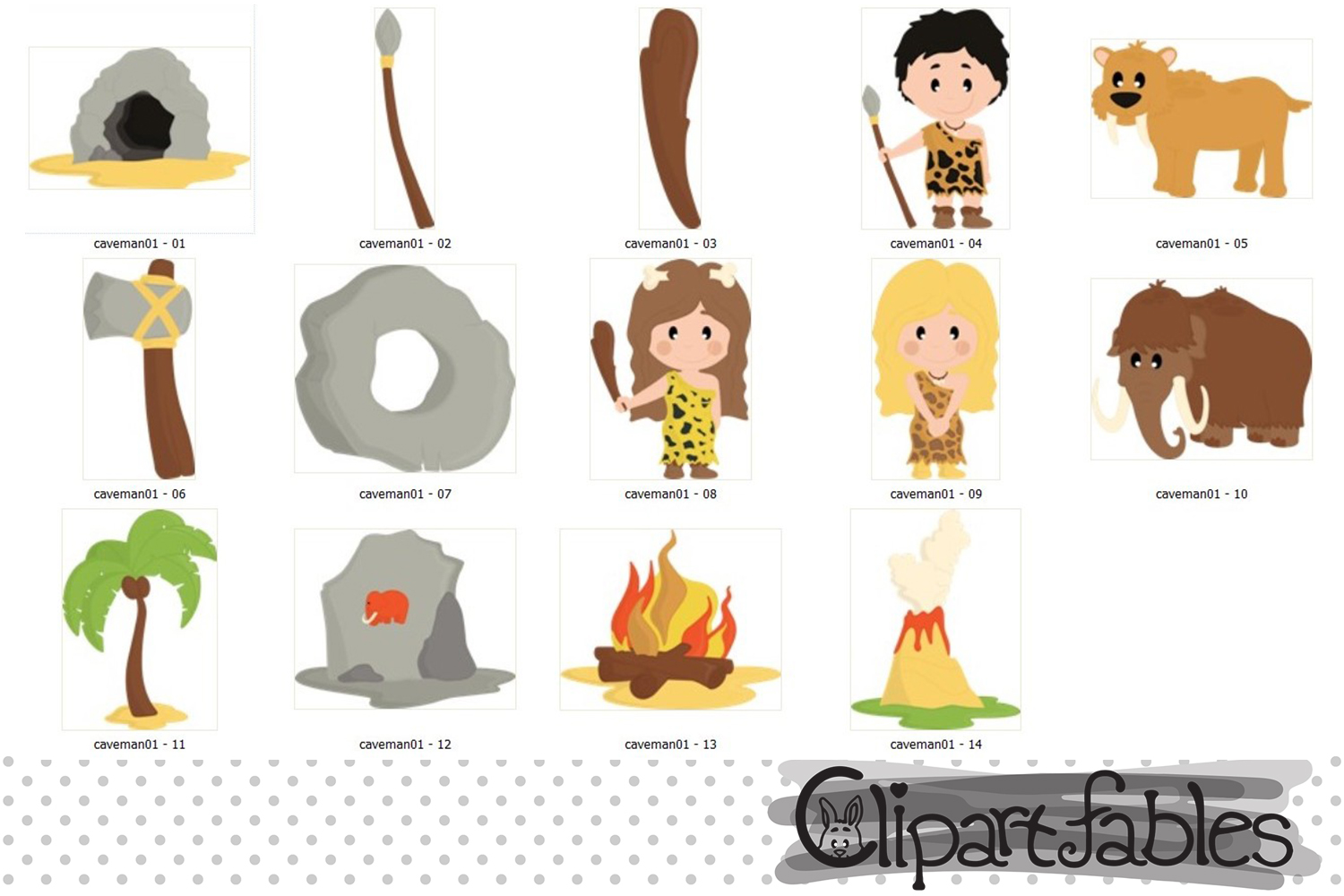 Ice age, Caveman clipart, Stone age - instant download example image 2