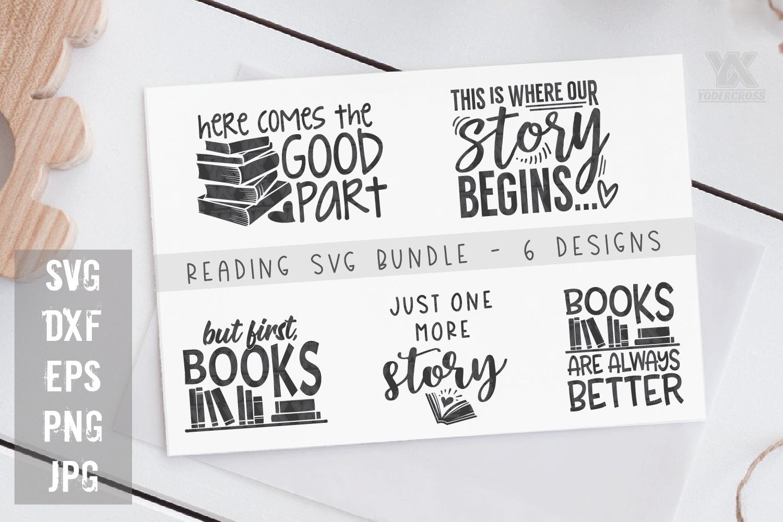 Reading SVG Bundle - 5 Book SVG Designs example image 1