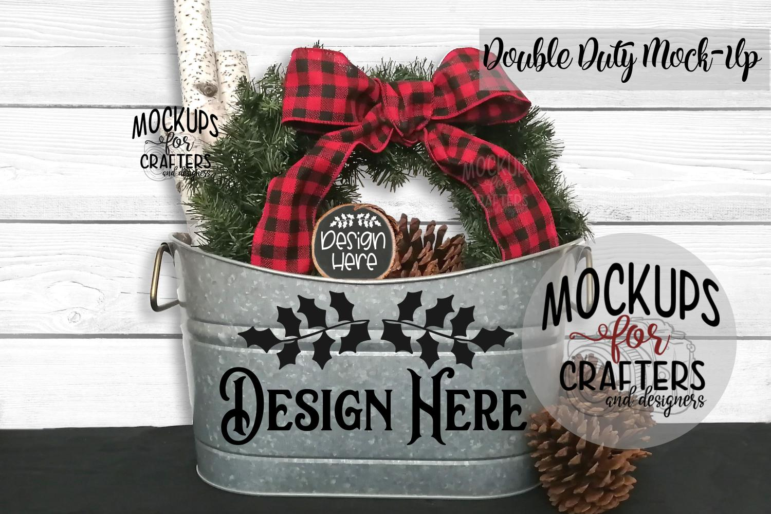 Christmas Double Duty Mock-Up - Planter & Wood Ornament example image 1