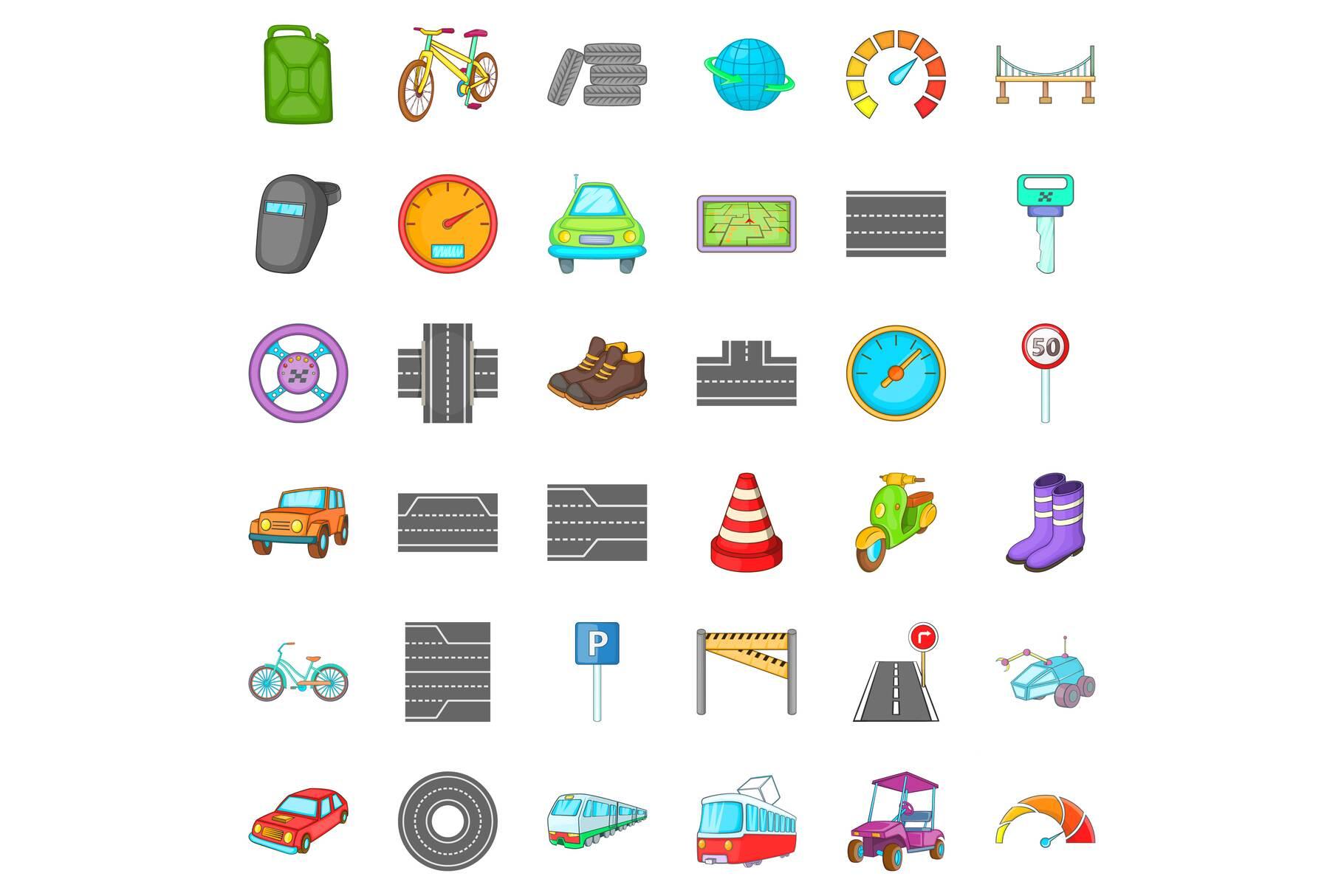 Car traffic icons set, cartoon style example image 1