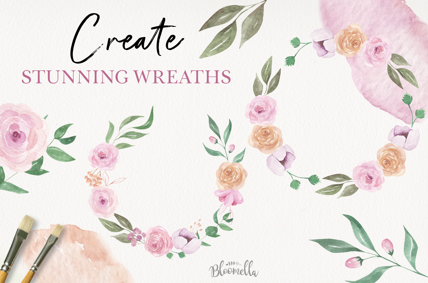 24 Watercolor Elements Flowers Pink Peach Foliage Leaf example image 2