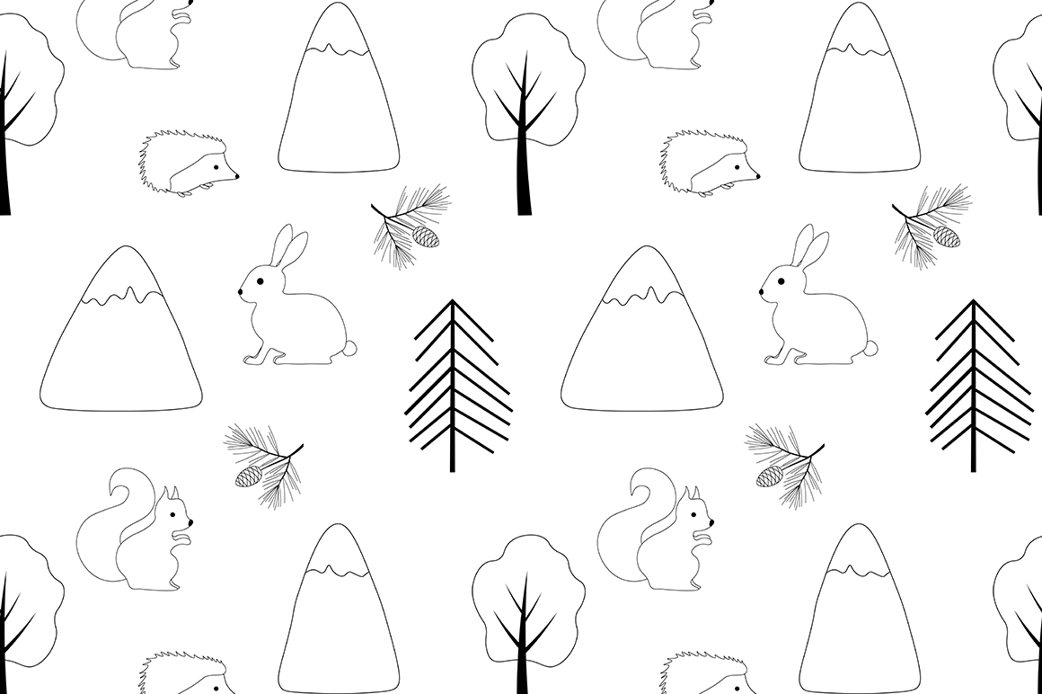 Set of illustrations Animals forest graphics vector example image 3