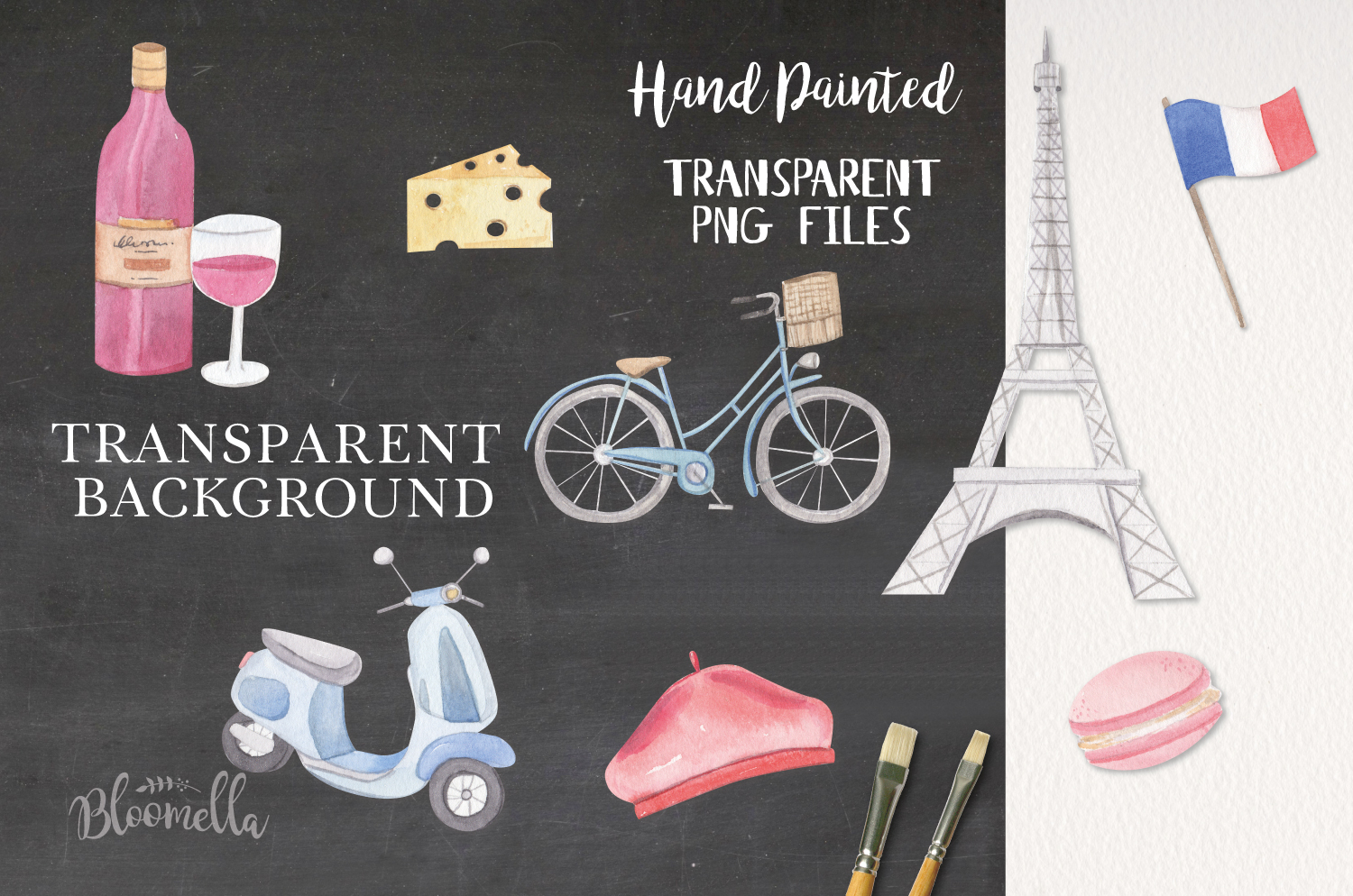 Paris 15 Watercolor French Eiffel Tower France Bike Wine example image 2