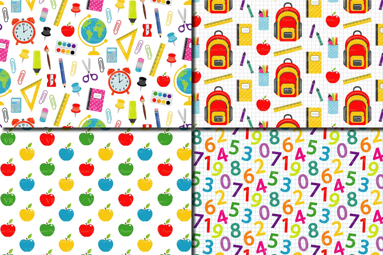 Back to School Digital paper / School Supplies pattern / School Background / Teacher Printable paper example image 2