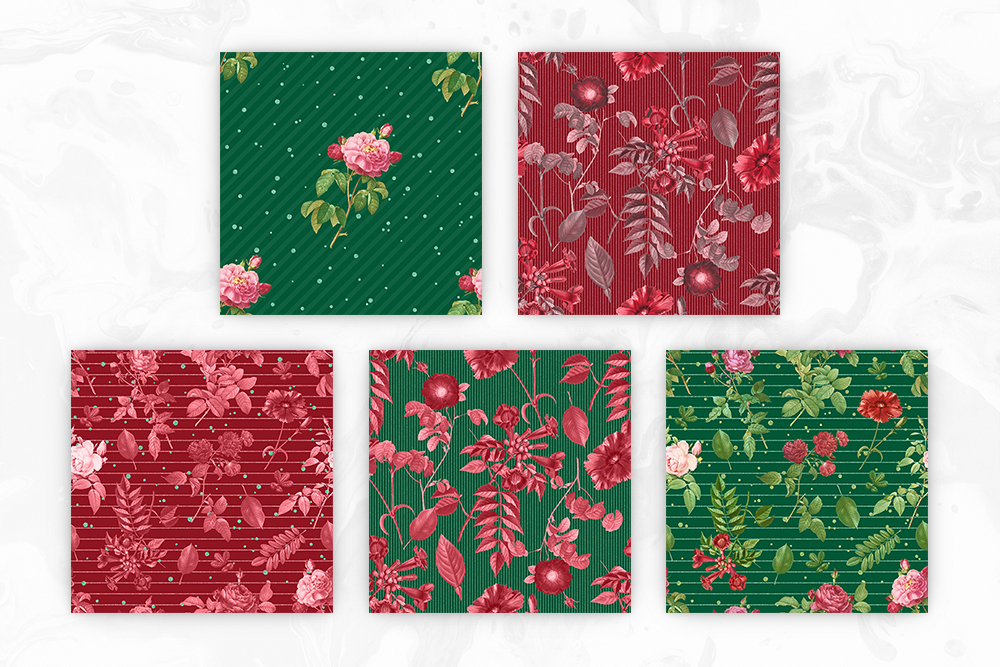Red & Green Tileable Patterns With Vintage Flowers example image 3