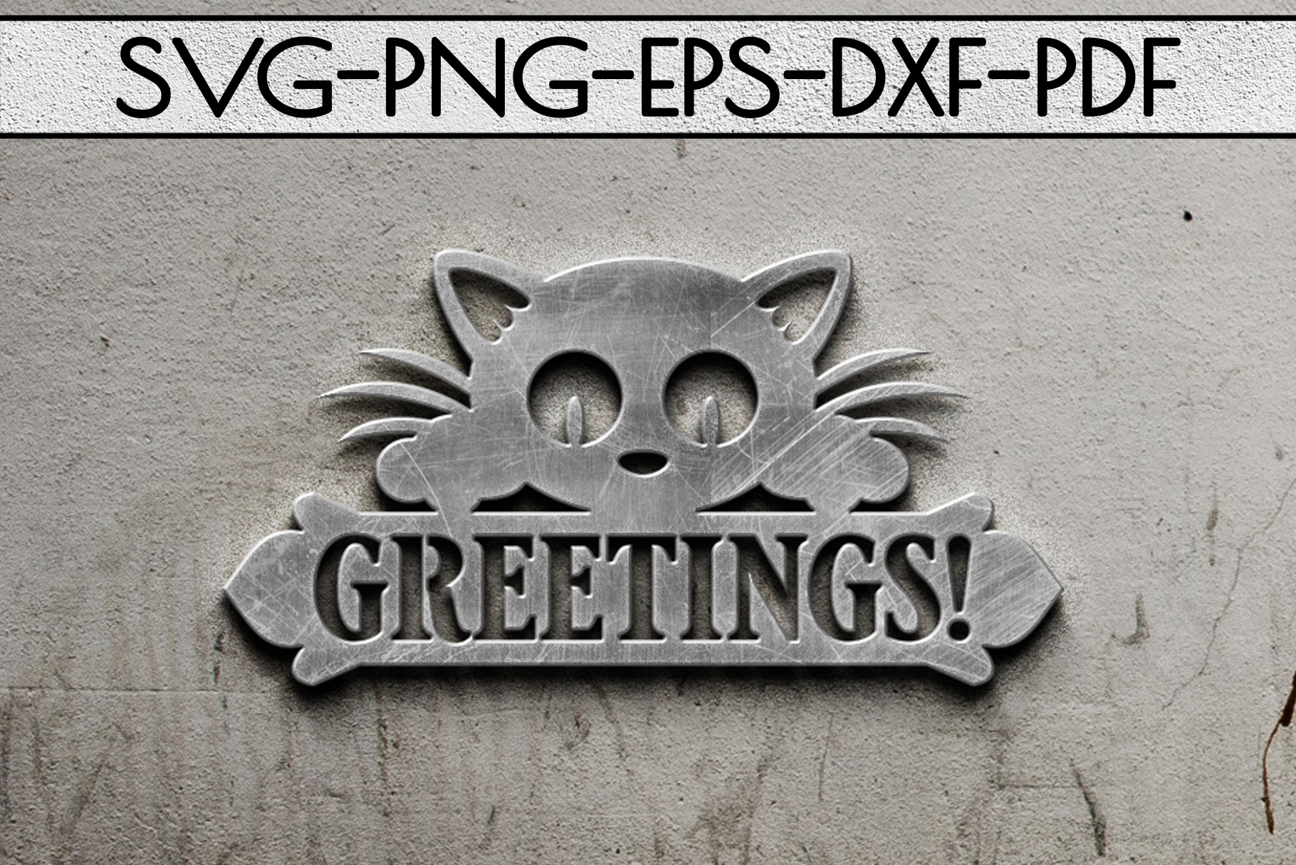 Greetings Sign Papercut Template, Cat House Decor, SVG, DXF example image 3