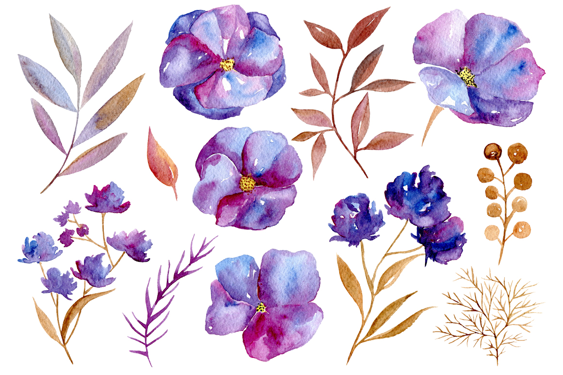 Watercolor violet flowers, 32 png example image 3