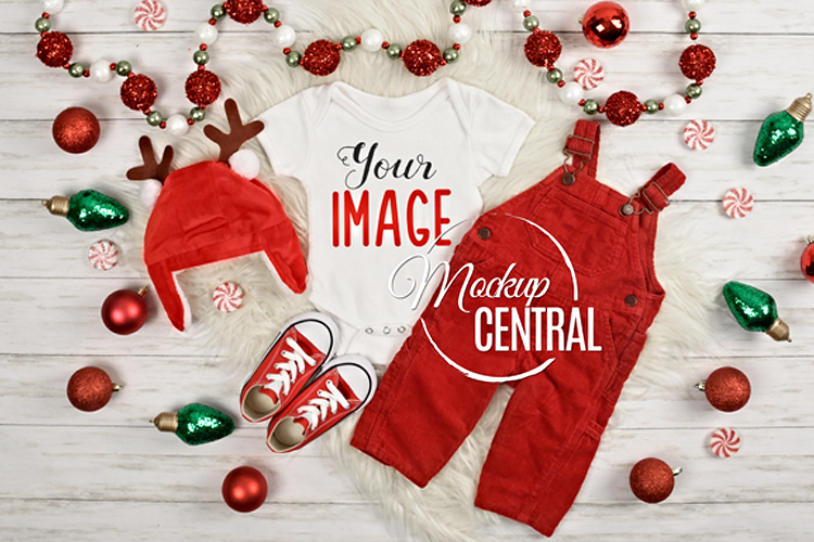 Blank Baby White Onepiece Bodysuit Christmas Mockup Shirt example image 1