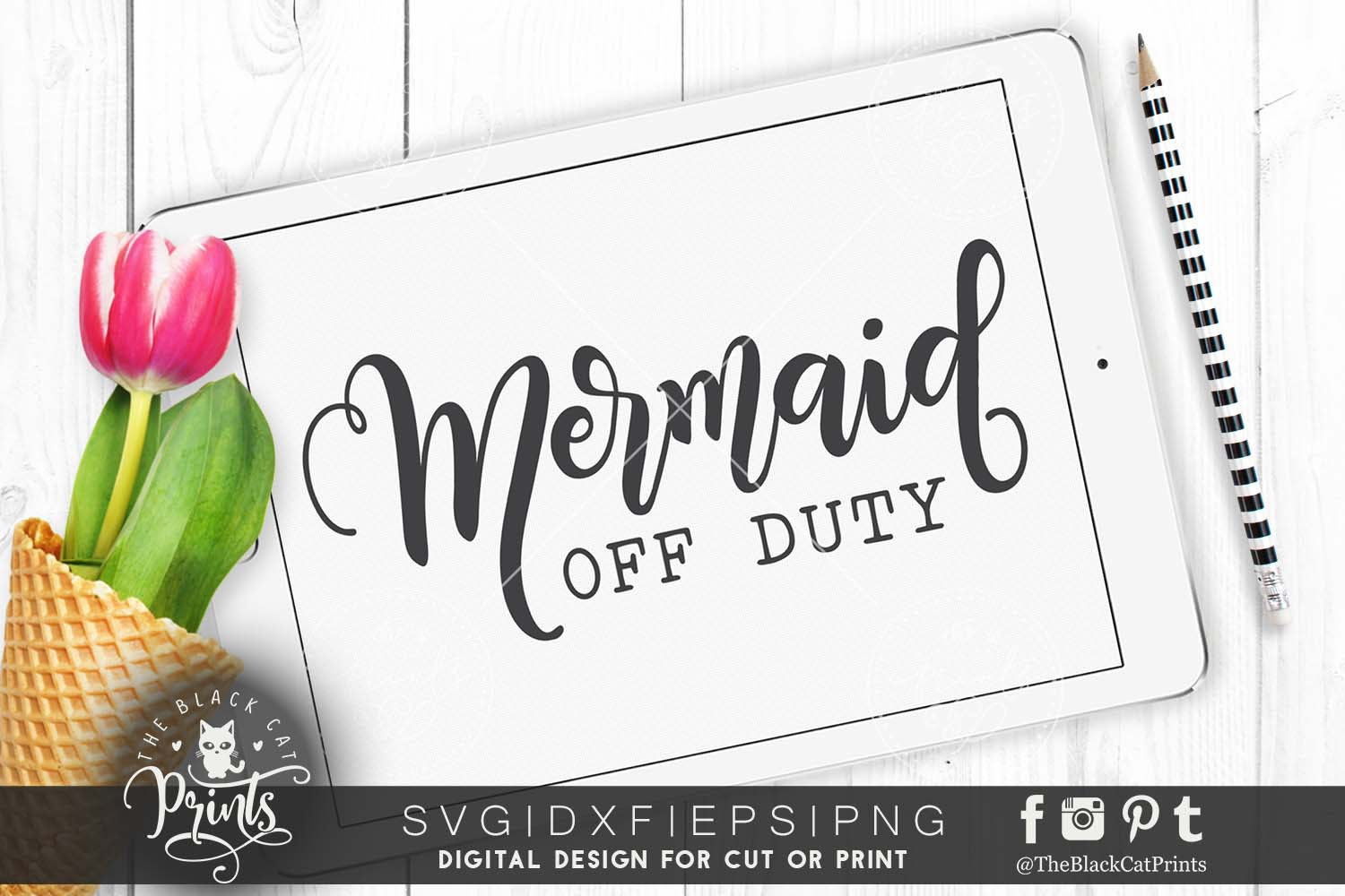 Mermaid off duty SVG DXF PNG EPS example image 1
