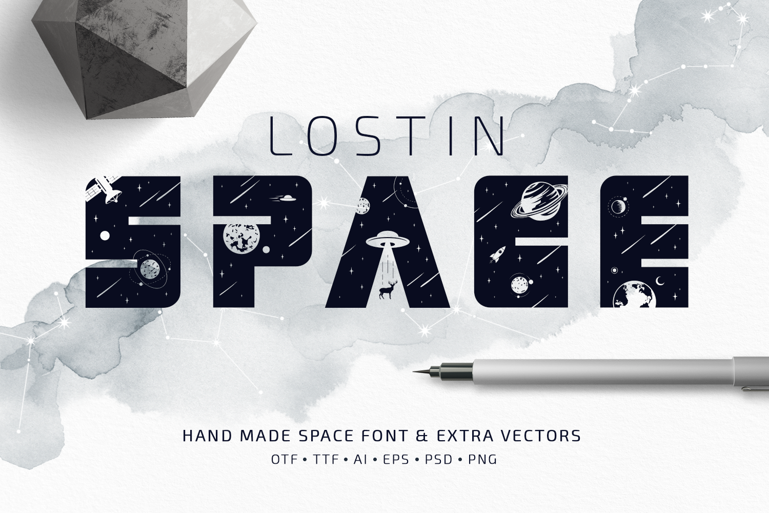 Lost In Space. Color Font - SVG example image 1