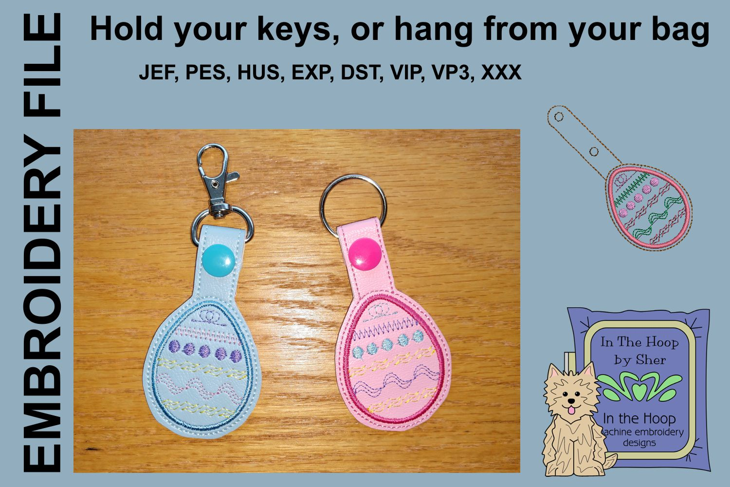 ITH Easter Egg 1 Key Fob - Embroidery Design example image 1
