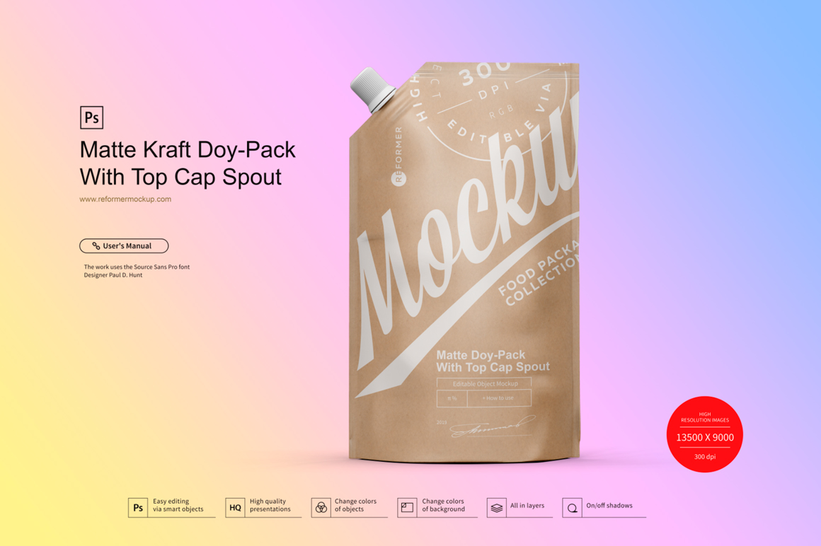 Kraft Doy-Pack With Top Cap Spout example image 3