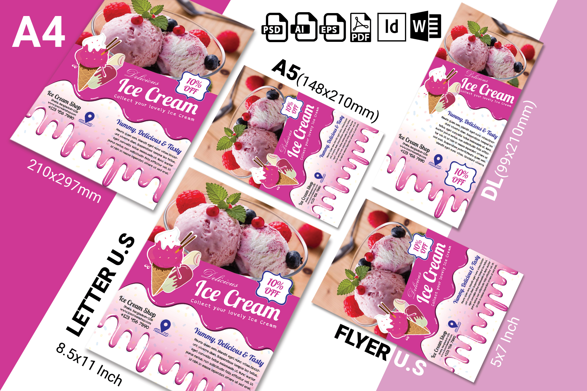 Ice Cream Shop Flyer Template Vol-02 example image 2