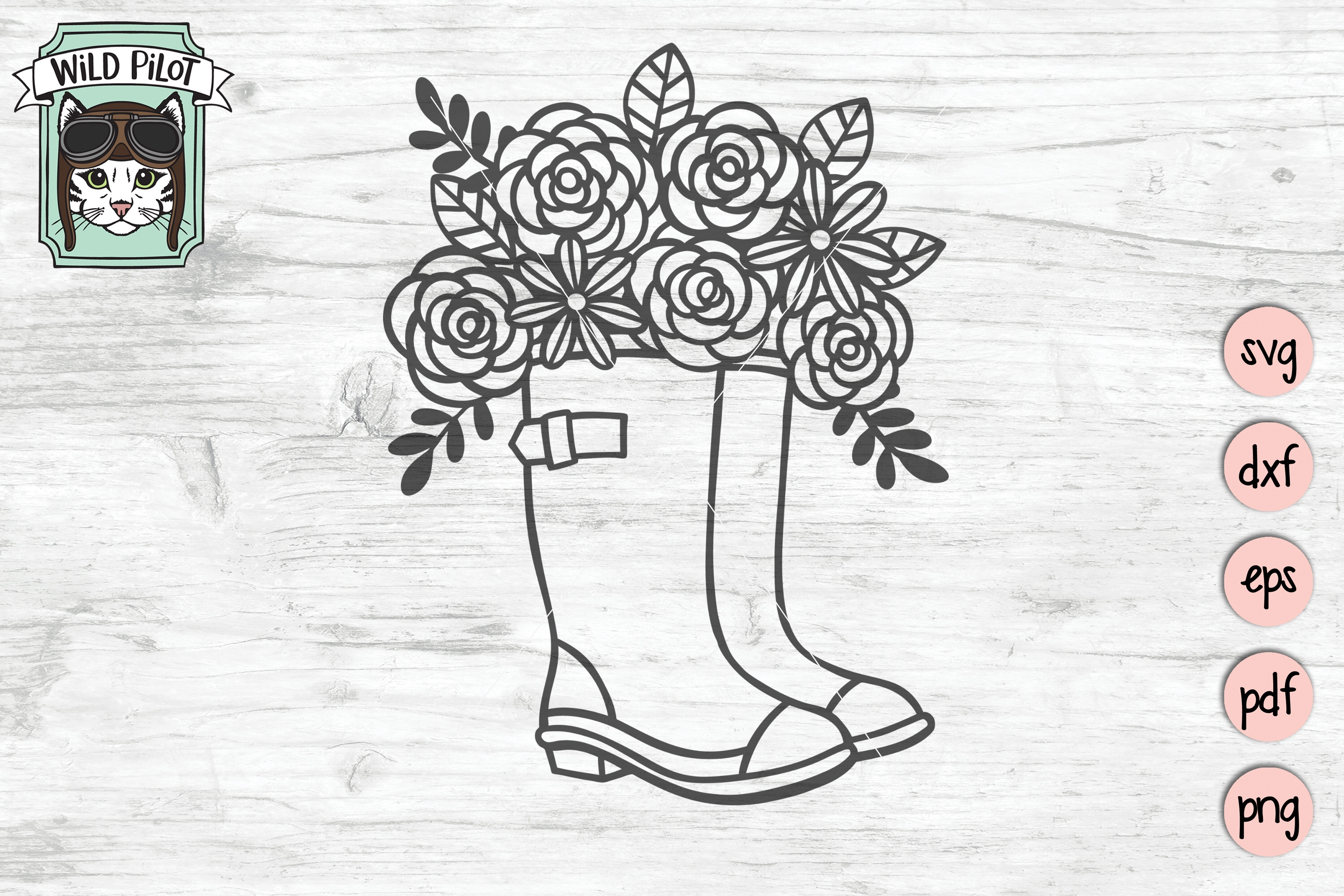 Rain boots svg file, Boots with flowers, Wellies cut file example image 1
