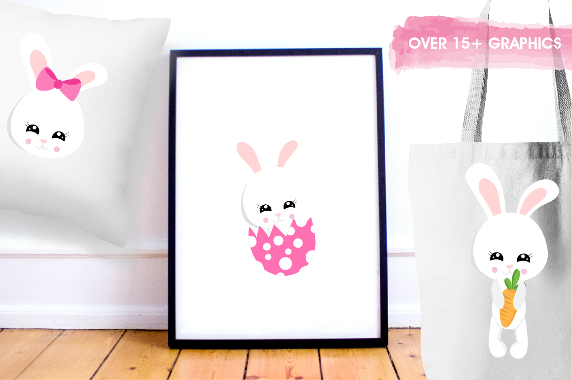 Easter cute bunnies graphics and illustrations example image 5