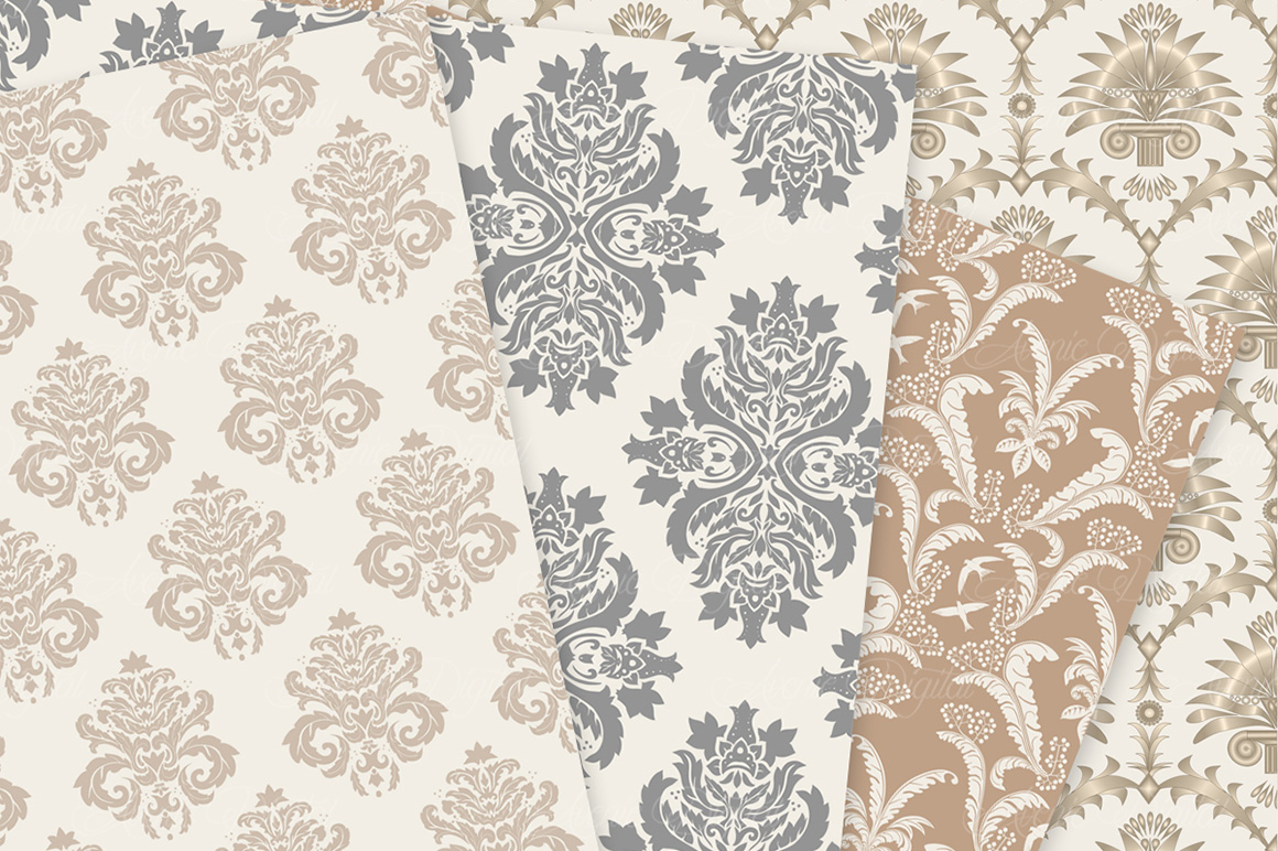 28 Neutral Damask Patterns - Wedding Seamless Digital Papers Bundle example image 5