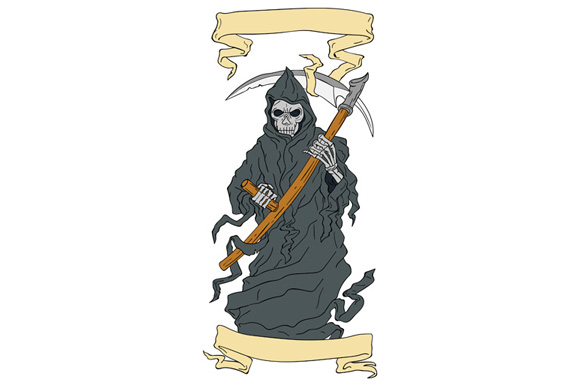 Grim Reaper Scythe Scroll Drawing example image 1