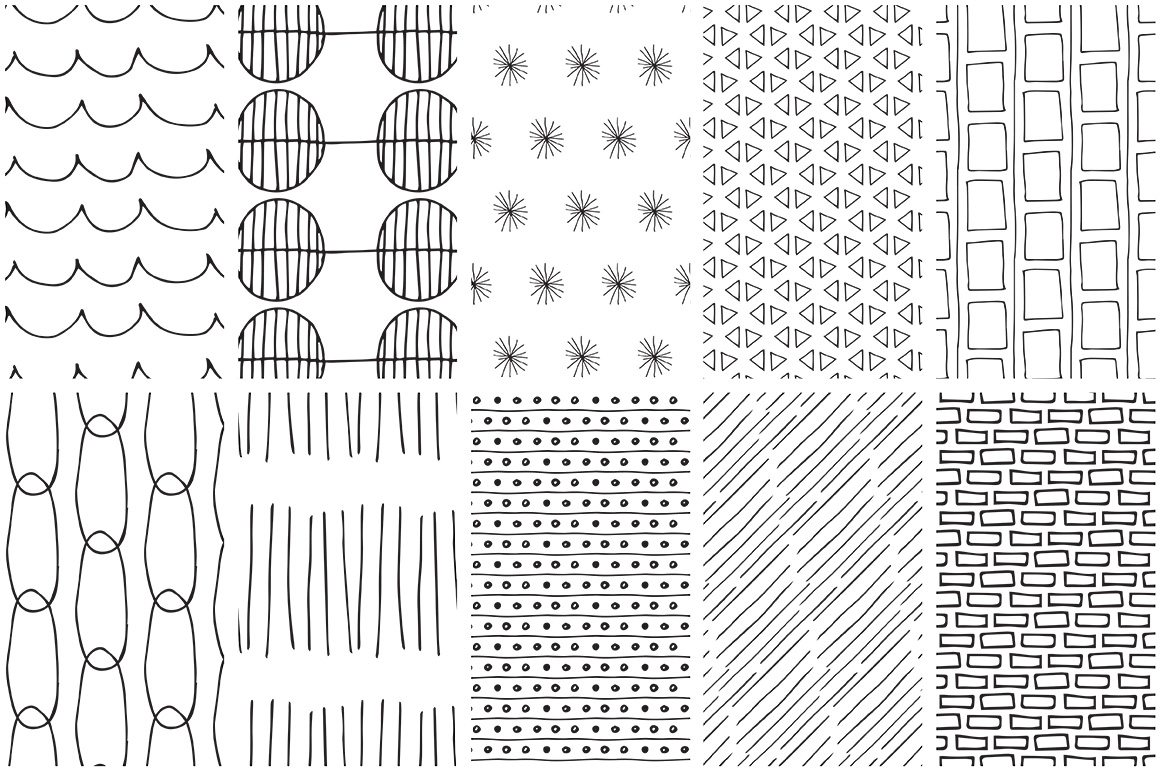 Simple Line Handdrawn Patterns example image 6