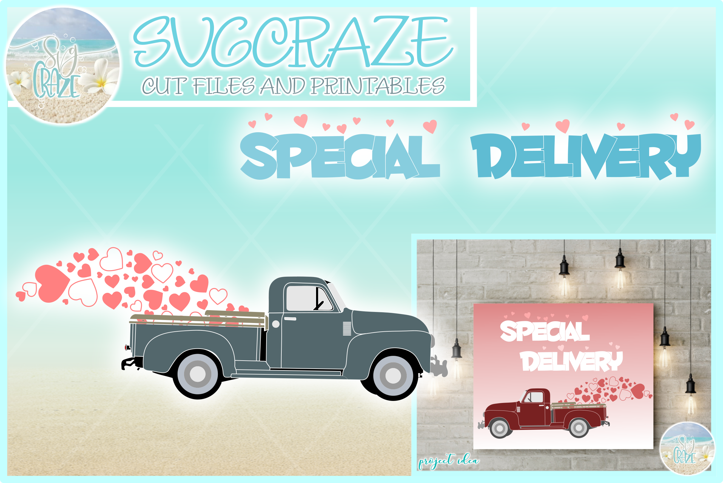 Valentines Day Special Delivery Truck Svg Dxf Eps Png Pdf example image 1