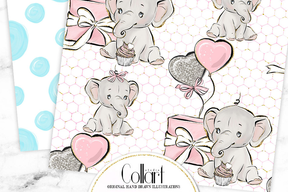 Elephant digital paper, baby boy papers, baby girl papers example image 6