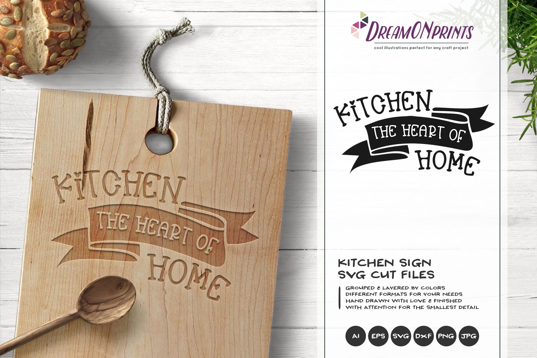 Kitchen the Heart of Home SVG - Kitchen SVG Cut Files example image 1