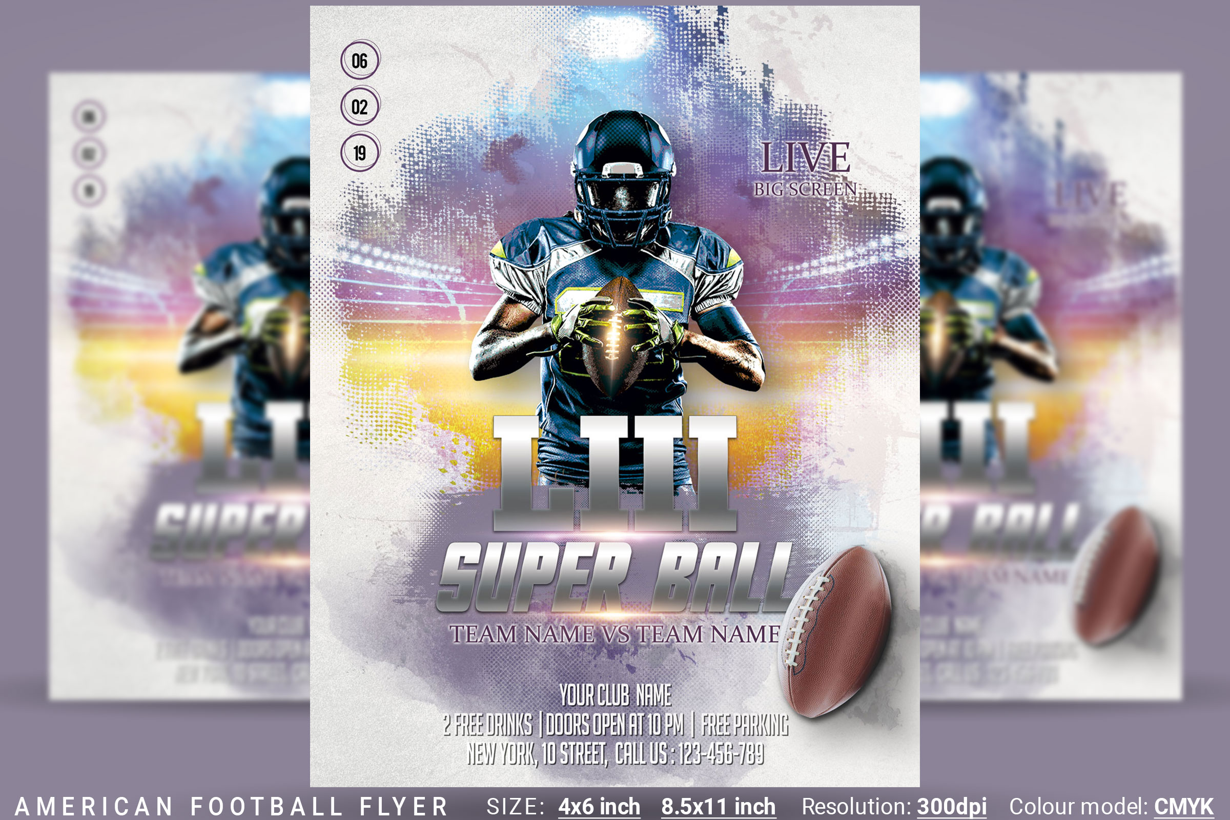 American Football Flyer And Poster example image 1
