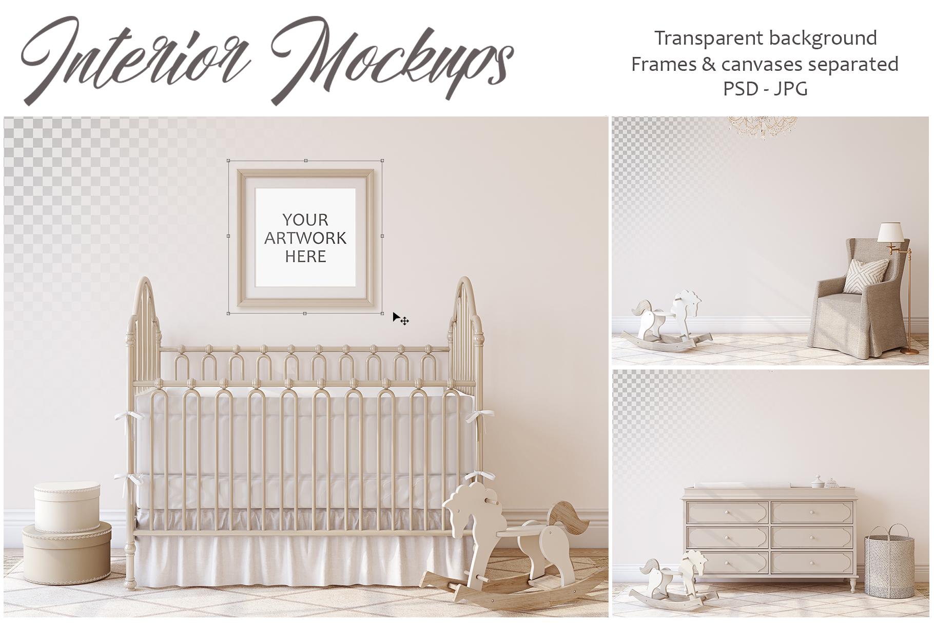 Romantic nursery. Wall&Frames Mockup. example image 1