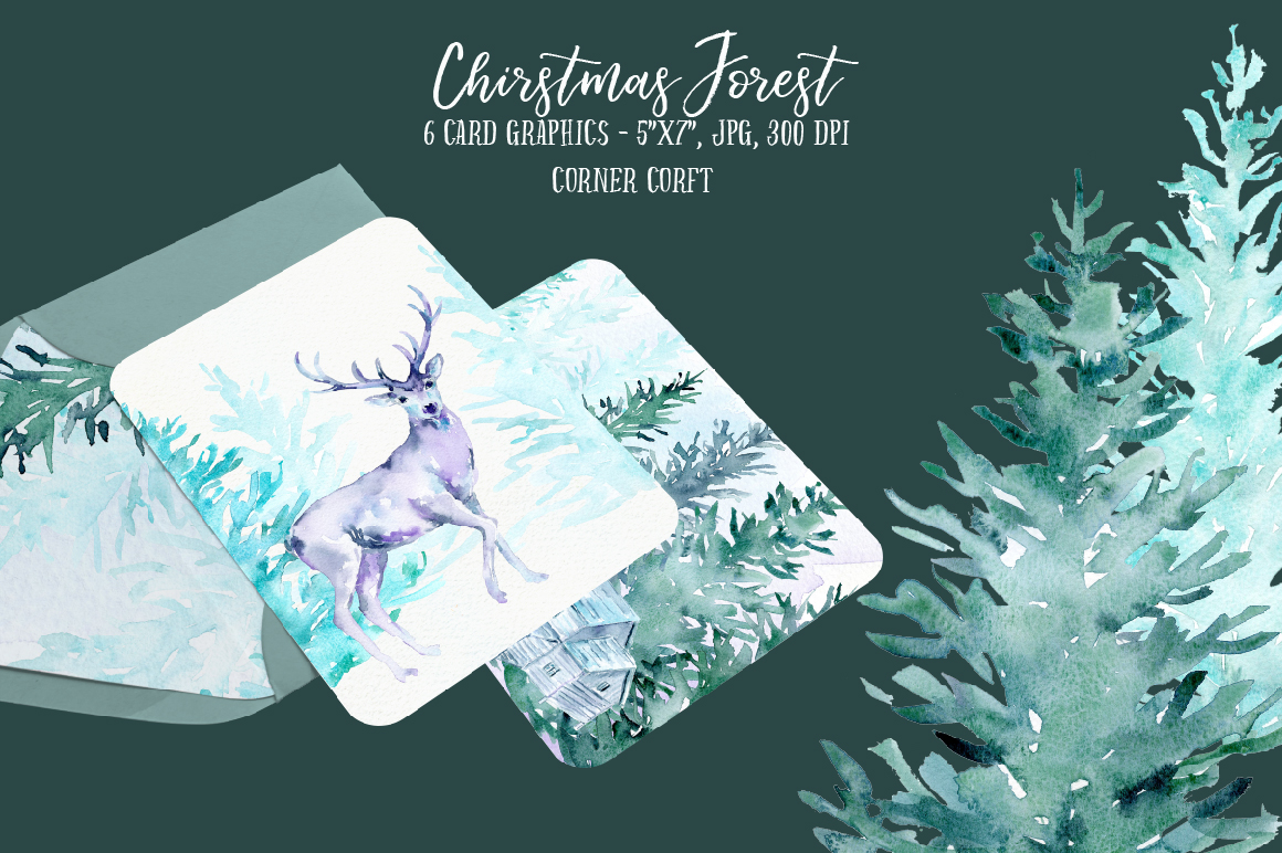 Watercolor Christmas Forest  example image 3