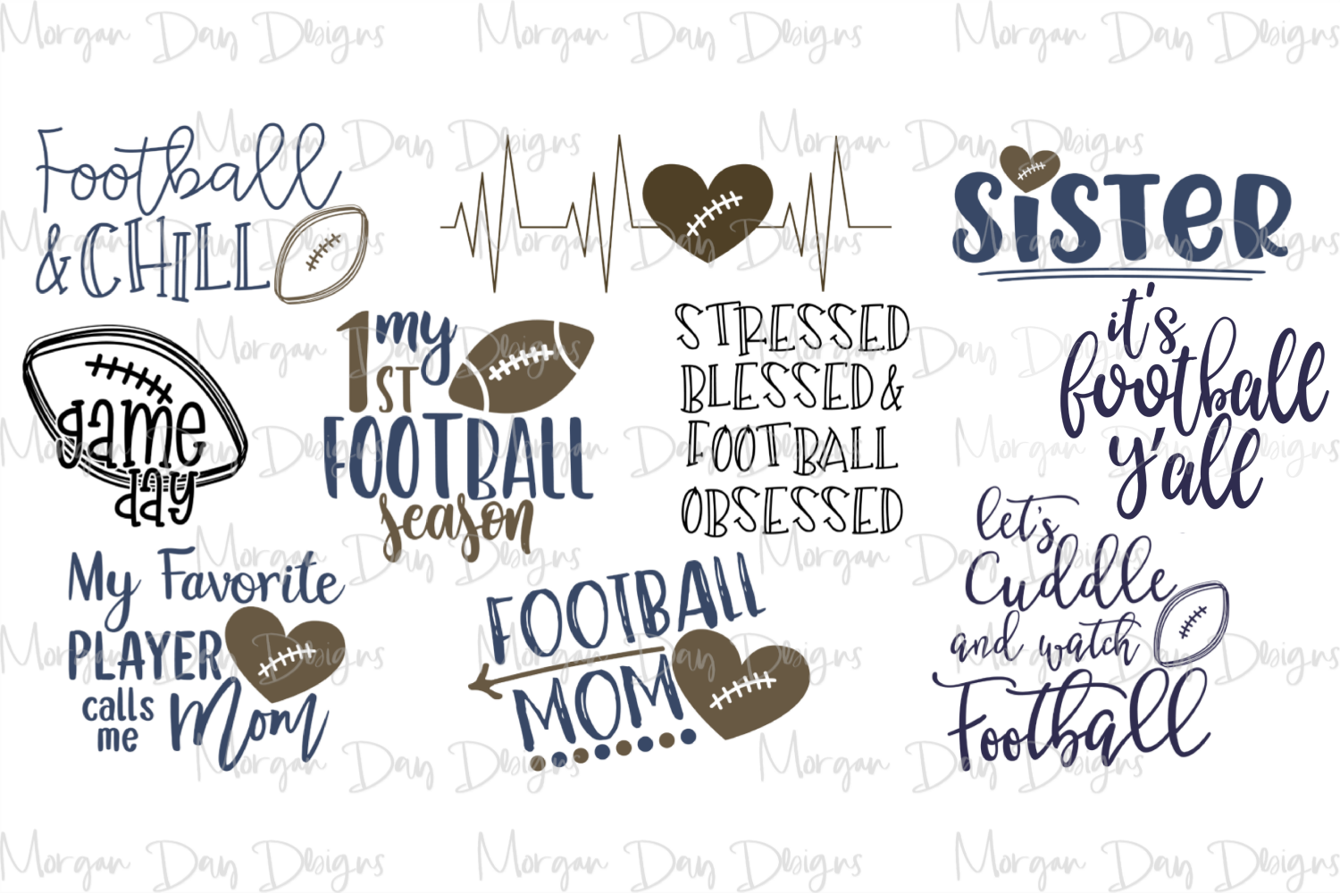 Football Bundle 1 SVG, DXF, AI, EPS, PNG, JPEG example image 2