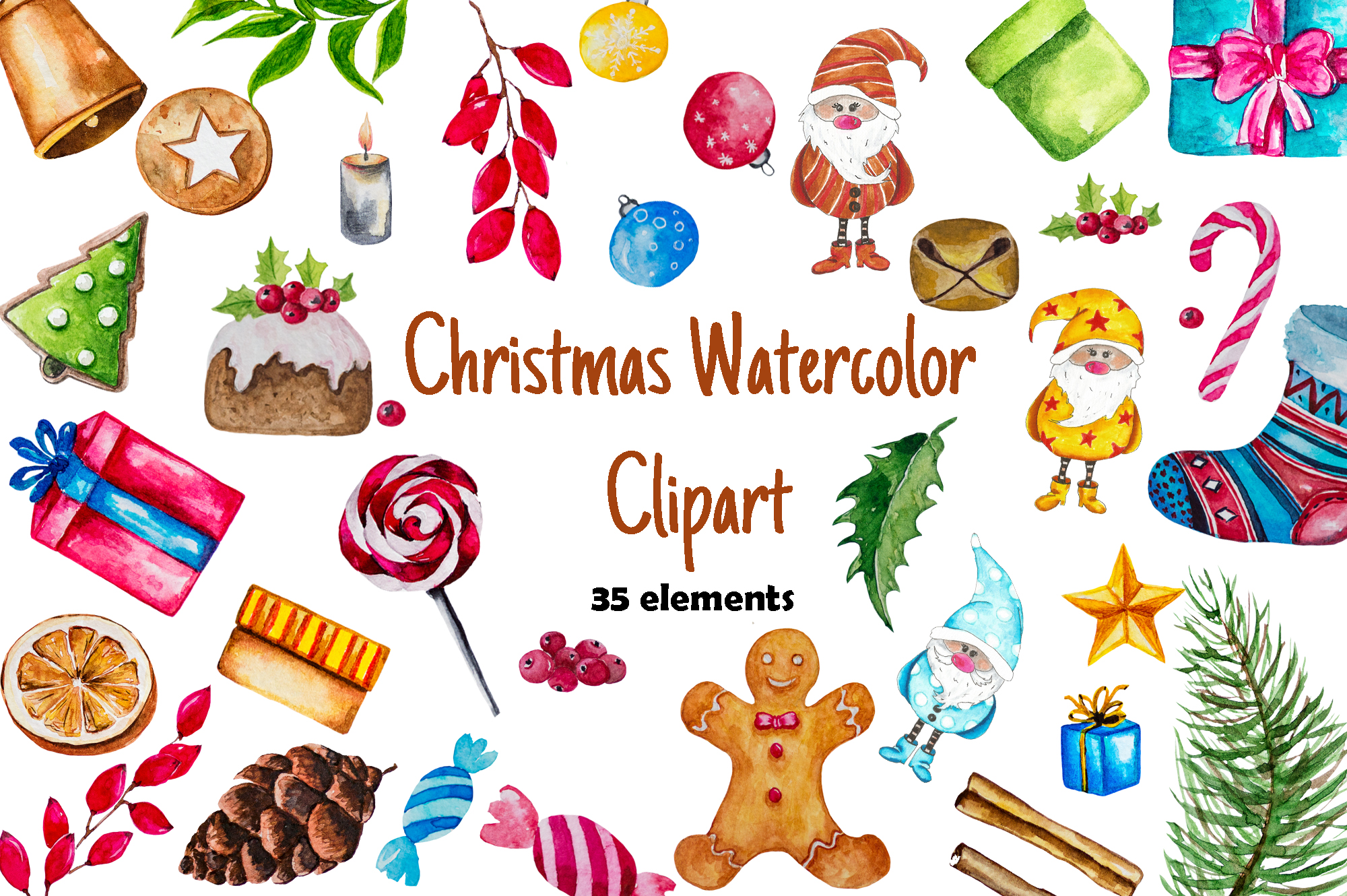 Christmas Watercolor Set example image 1