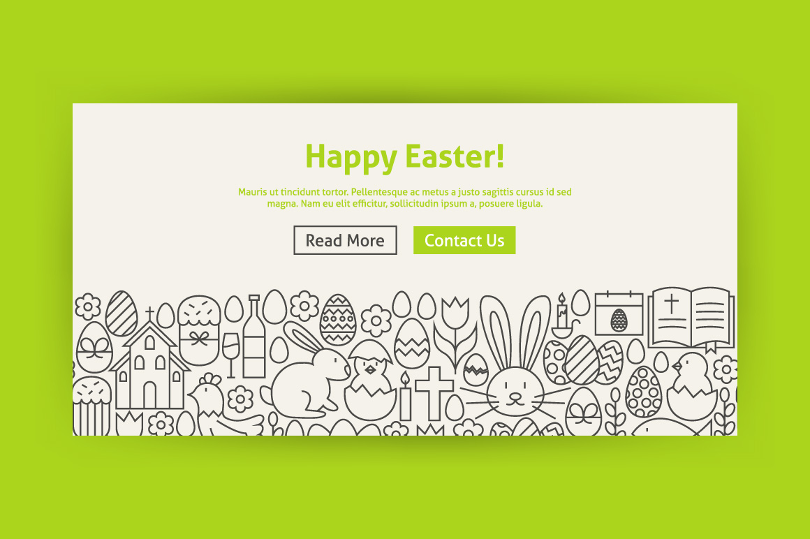 Happy Easter Line Art Web Banners example image 4